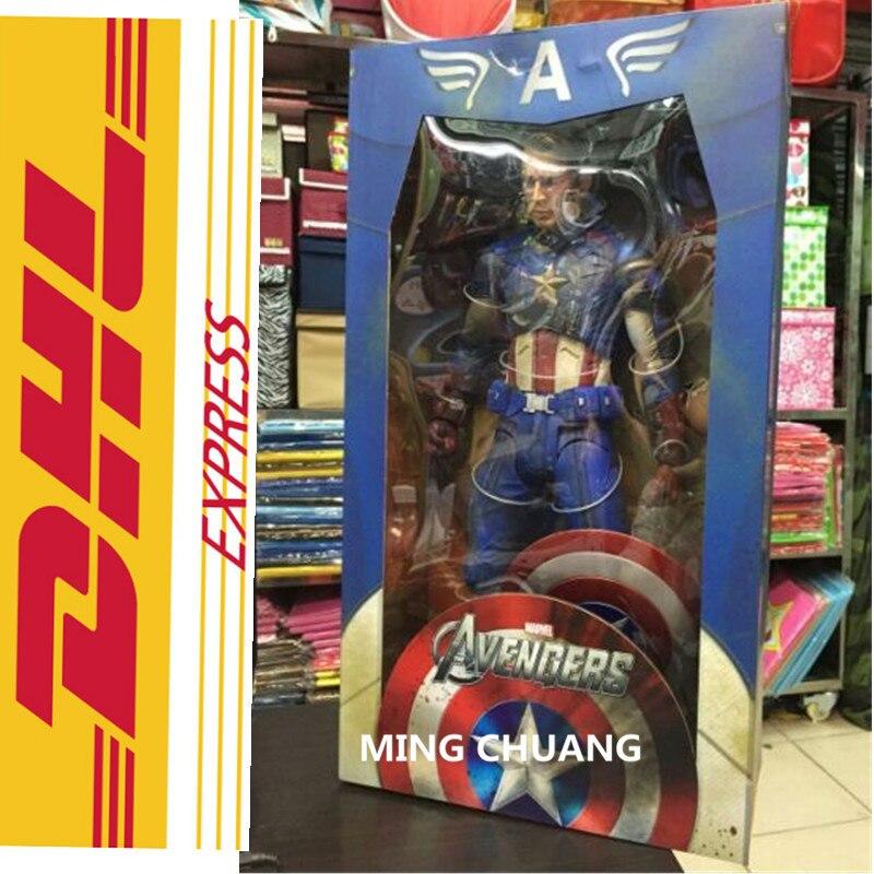 """18 """"vengadores Infinity War superhéroe Capitán América de longitud completa retrato PVC acción figura juguete de modelos coleccionables 45CM en caja T103"""