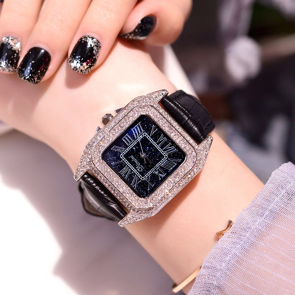 New Women Square Diamond Quartz Watch Leather Strap Casual Watches Women Fashion Starry Sky Dial Watches Waterproof reloj mujer enlarge