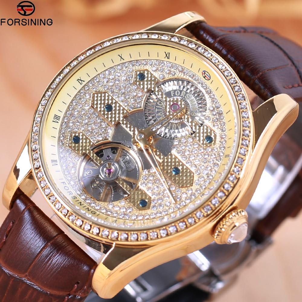 2018 Forsining moda diamante Tourbillion pantalla marrón cuero genuino resistente al agua hombres reloj de marca superior de lujo reloj automático