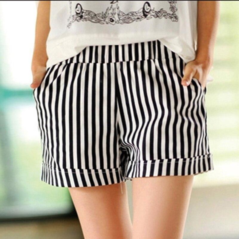 2020 nueva moda de verano de algodón blanco rayas Negro Shorts informales para mujer cintura elástica bolsillo corto sexy para mujeres de talla grande 3XL