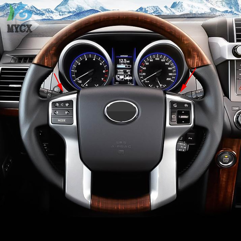 Para Toyota Land Cruiser Prado 150 LC150 FJ150 FJ 150 2010-2018 Interior moldura para cubierta del volante coche cromo estilo Accesorios