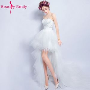 Beauty-Emily Sexy Short Asymmetrical White Wedding Dresses 2017 Coctial Party Dresses Sweetheart Beading Sequined Pears