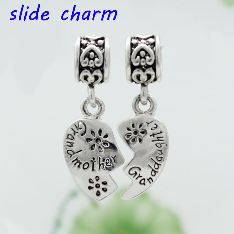 Slides charme frete grátis DIY contas de Avô avó coração pingente charme beads fit Pandora pulseira colar