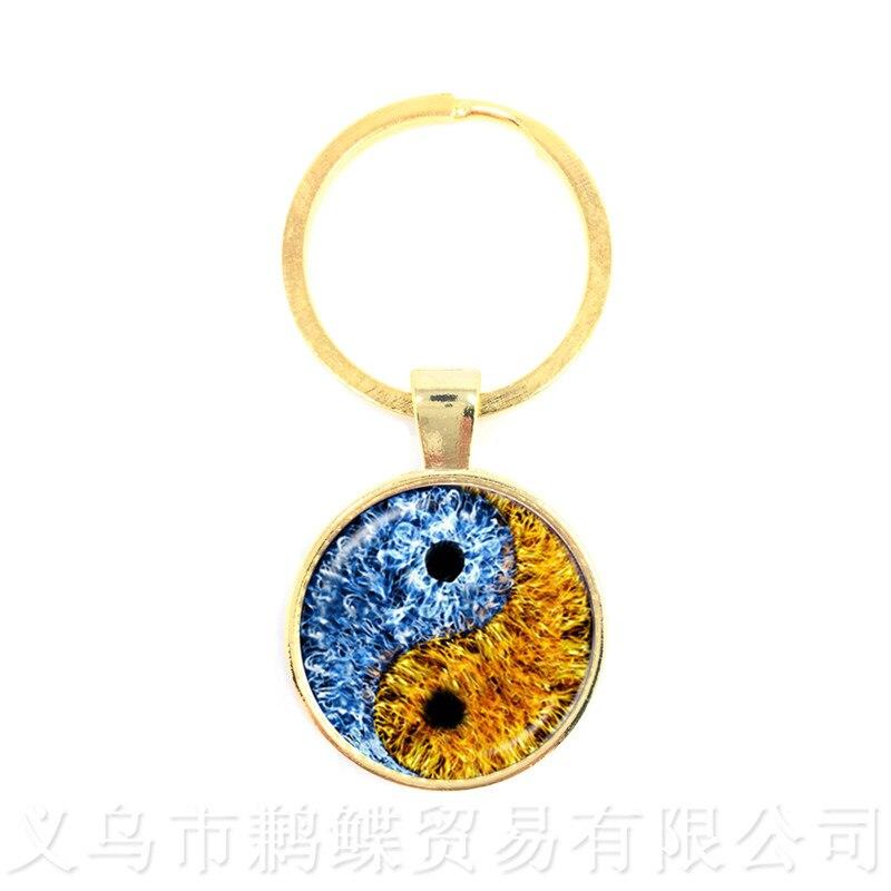 Yin Yang Glass Keychains Men Women Jewellery Keyholder Natural Rustic Boho Style Symbolizing Harmony