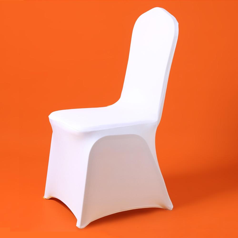 50/100 Uds Universal baratas boda fundas de sillas blancas Reataurant banquete Hotel Fiesta en comedor de Lycra de poliéster para silla, de Spandex cubierta