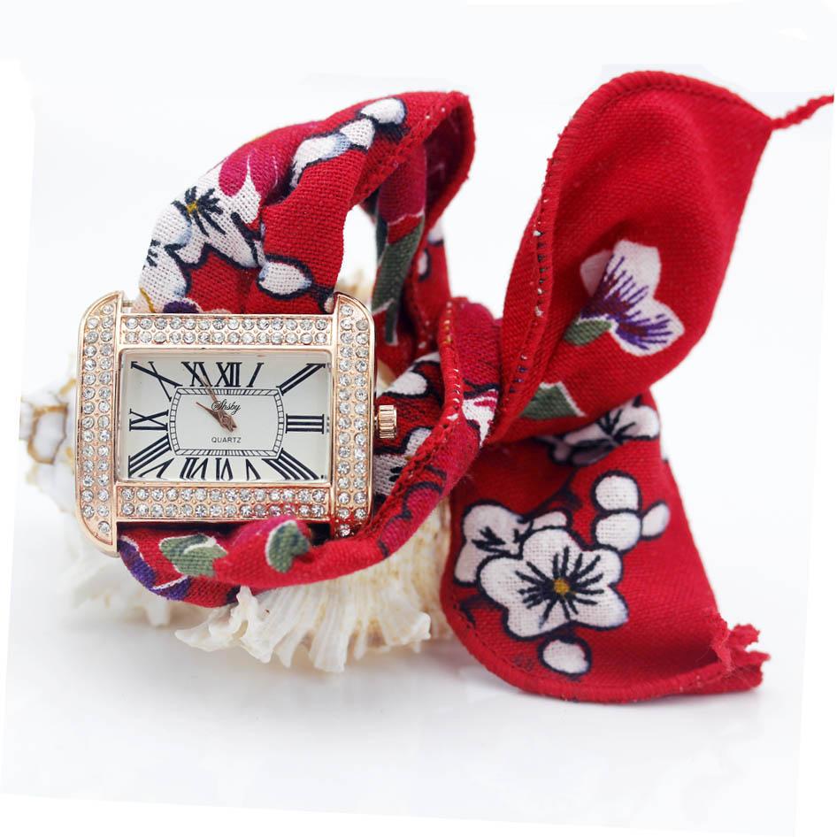 Женские квадратные наручные часы shsby с цветочным рисунком, модные женские наручные часы, часы из высококачественной ткани, милые наручные ч...