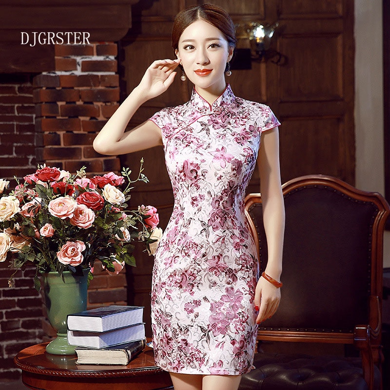 DJGRSTER, Vestido corto de manga corta a la moda, Qipao, vestido vintage de estilo chino, cheongsam restaurador, vestido tradicional chino
