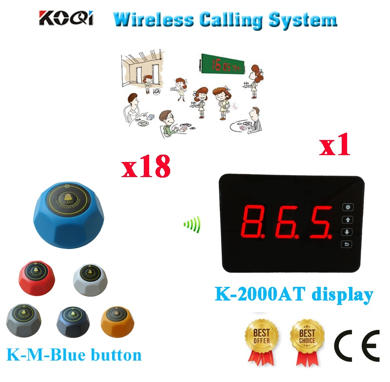 Wireless Call Bell Service System Top Popular Restaurant Pager Equipment CE Passed(1 display+18 call button)