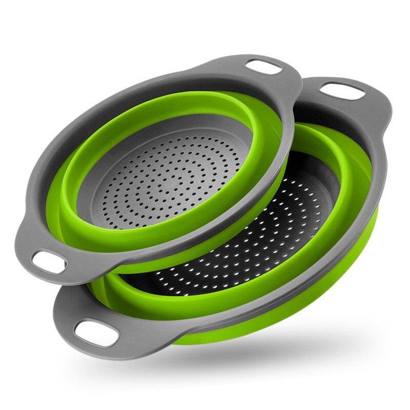 2 teile/satz Folding Ablauf Conlander Obst Gemüse Waschen Korb Sieb Silikon Sieb Küche Lagerung Gadgets Korb Werkzeuge