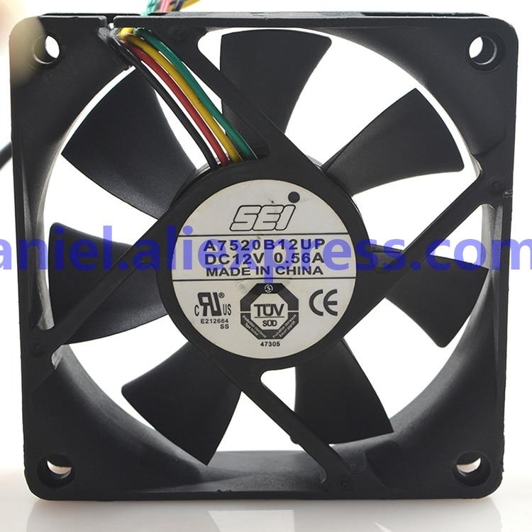 7520 SEI A7520B12UP 7520 DC12V 0.56A quatro-wire temperatura-governador controlado ventilador de caixa