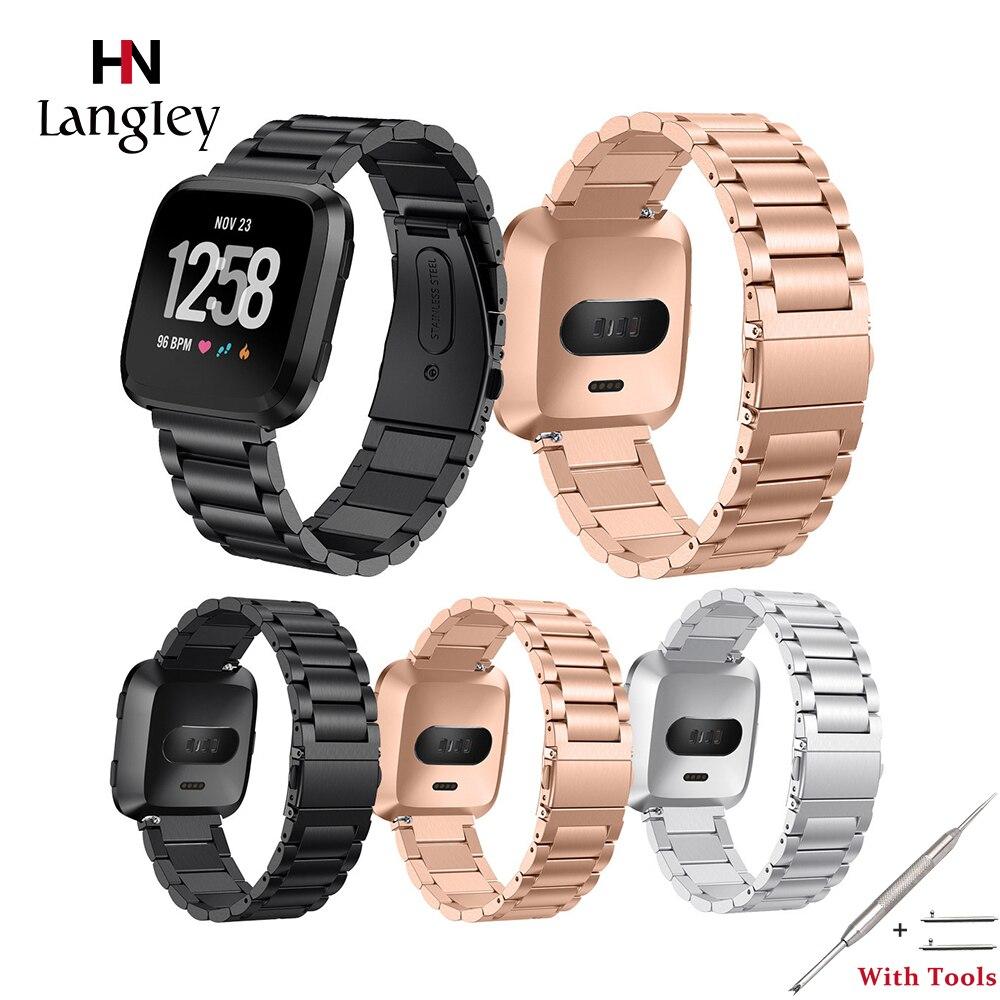 Correas de acero inoxidable para Fitbit Versa, correa de reloj inteligente, moda duradera para hombres y mujeres, relojes de oro rosa, accesorios de correas
