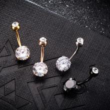 FUNIQUE Sexy femmes or couleur Piercing nombril nombril corps bijoux cristal Zircon strass rond corps anneau bijoux