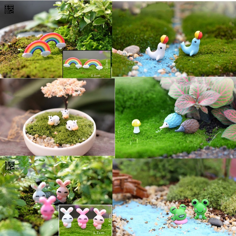 Micro landscape Mini Animals house Miniature Fairy Garden Miniaturas Micro Moss Landscape diy Terrarium Accessories Figurines
