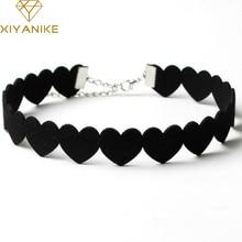 XIYANIKE noir dentelle collier ras du cou femmes velours tour de cou amour coeur colliers Chocker tatouage collares Collie ras de cou N662