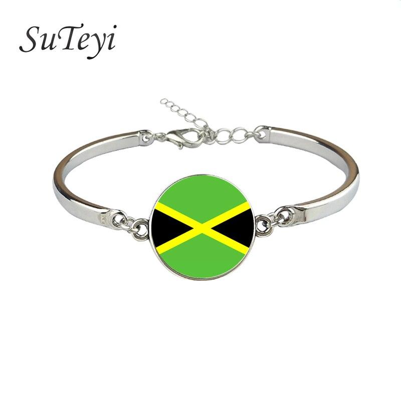 SUTEYI moda brazalete con bandera Jamaica Armenia Yemen Iraq, Irán, Israel, India, Indonesia, nación pulsera chapada en plata