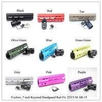 7'' inch Keymod Handguard Rail Free Float Picatiny Mount Sytsem_Black/Red/Tan/Blue/Pink/Purple/Grey/Olive Green/Grass Green