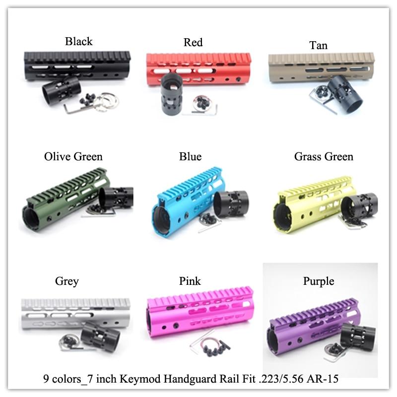 7 pulgadas Keymod Handguard riel flotación libre Picatiny Mount sytsem_negro/Rojo/Tan/azul/rosa/púrpura/gris/Verde Oliva/verde hierba