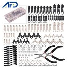 194 pçs/set Substituição Zíper Cabeça Zipper Repair Kit Fix Substituição Zip Instantânea Universal Ferramentas de Controle Deslizante Para Zíper Acessórios