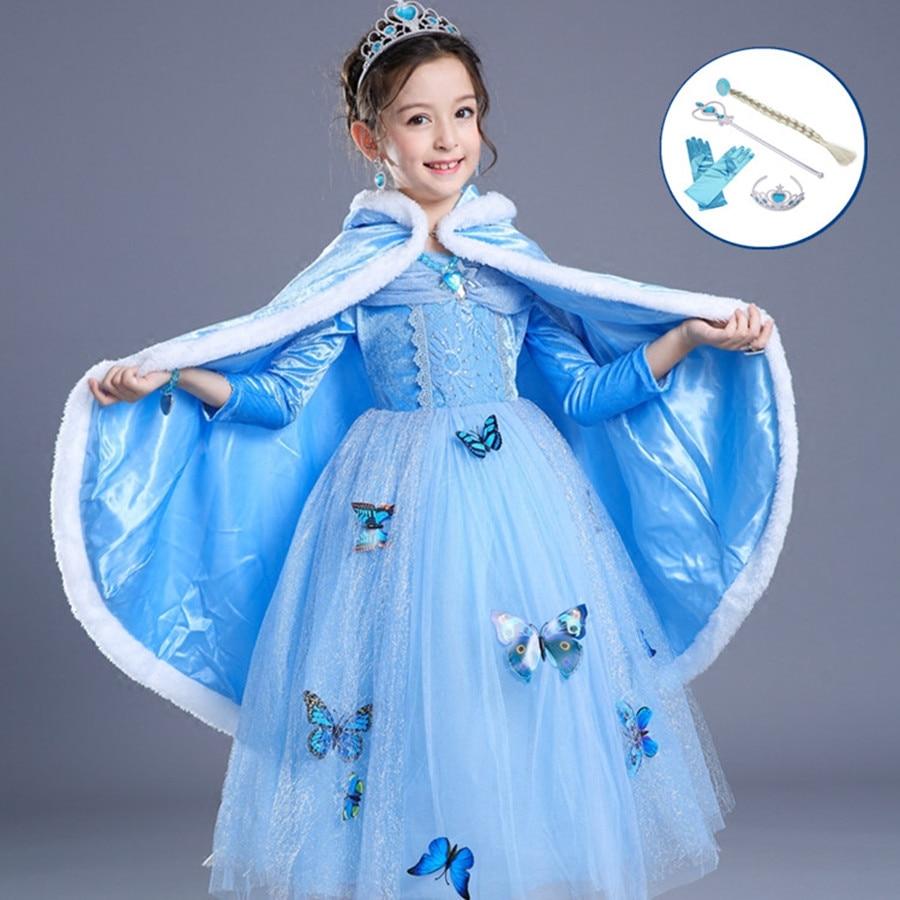 От 3 до 10 лет платье принцессы Эльзы синего цвета для девочек с накидкой, волшебной палочкой и перчатками, одежда для костюмированной вечери...
