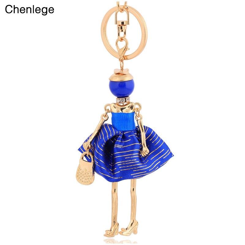 Chenlege liga frete grátis boneca da moda meninas mulheres chaveiro de chaveiros anel chave charme pingente jóias aceessorie senhora chaveiro