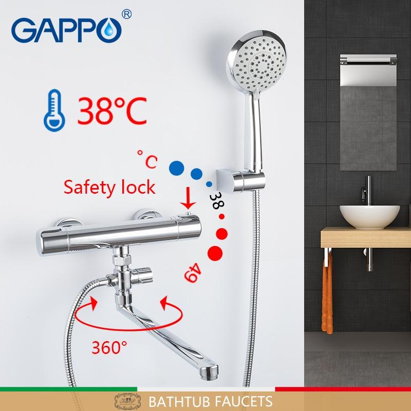 GAPPO-حنفيات حوض الاستحمام المثبتة على الحائط ، وخلاط ثرموستاتي ، للاستحمام والحمام