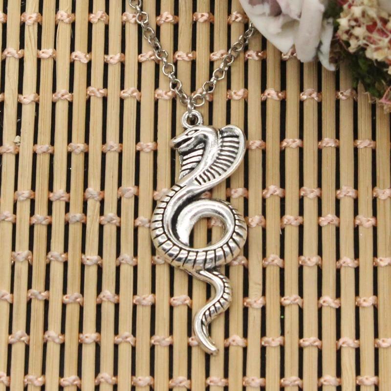 Nuevos colgantes de serpiente de la Cobra del rey de la manera cadena cruzada redonda para hombres Cortos Largos para mujeres DIY collar de Color plateado regalo de la joyería