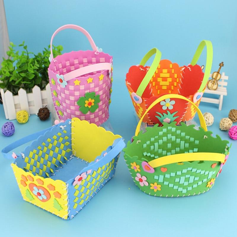 EVA bricolage sacs mignon fleur Style artisanat à la main sac dessin animé couture sacs à dos enfants enfants jouets créatifs garçons filles tresse panier