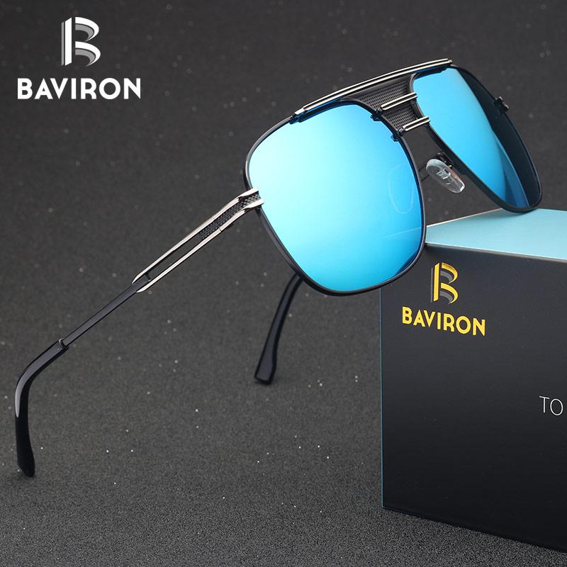 Gafas de sol piloto Retro BAVIRON hombres Vintage piloto gafas de sol UV400 para hombres diseñadores de marca 2018 gafas de gran tamaño hombres Oculos