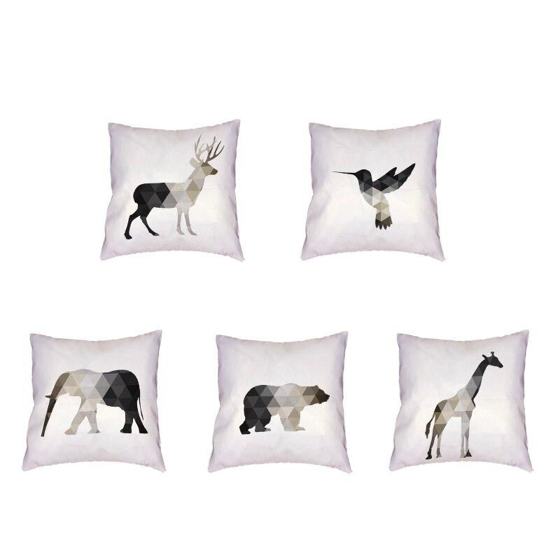 Funda para cojín de estilo Simple y nórdico, mosaico geométrico estampado de animales de poliéster, funda de almohada decorativa para el cuidado de la piel de melocotón, asiento para el hogar