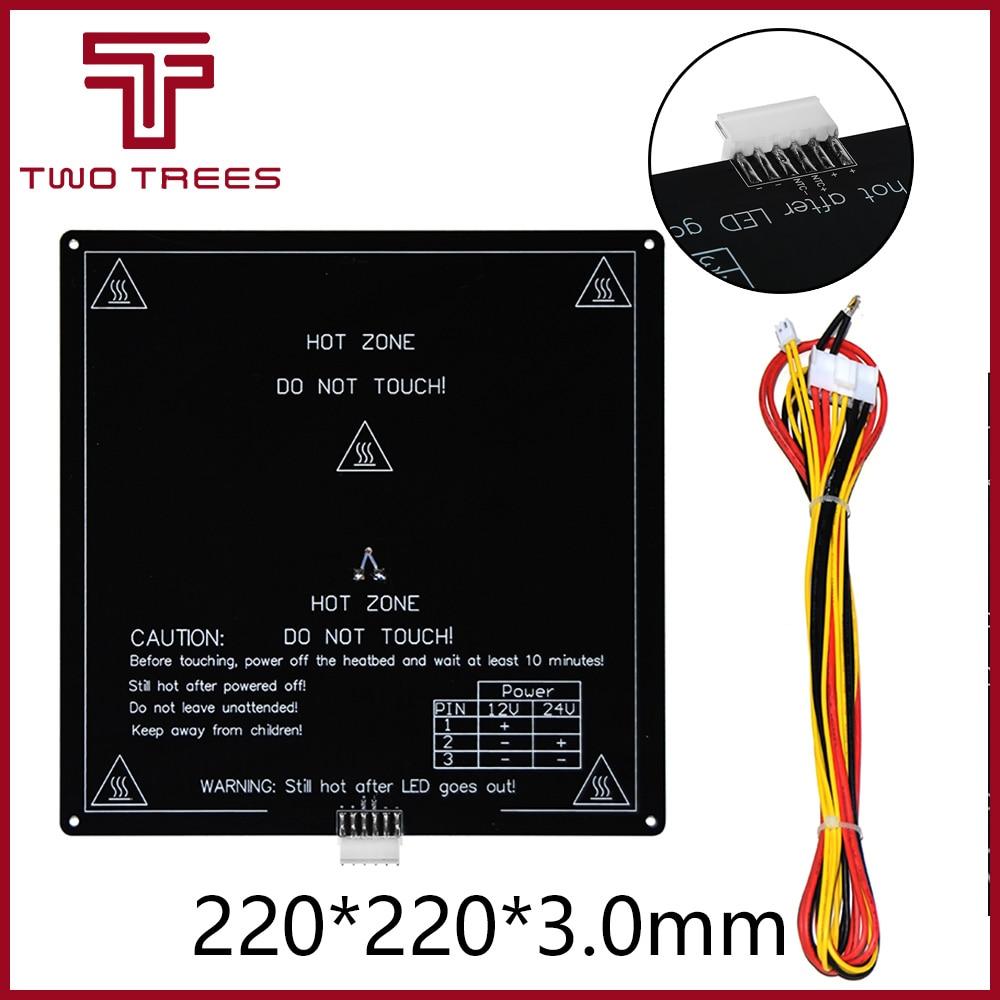 Cama caliente mejorada MK3, 12 220x220x3mm con Cable Mendel RepRap i3 rampas 1,4 PCB, placa caliente estándar de aluminio para impresora 3D