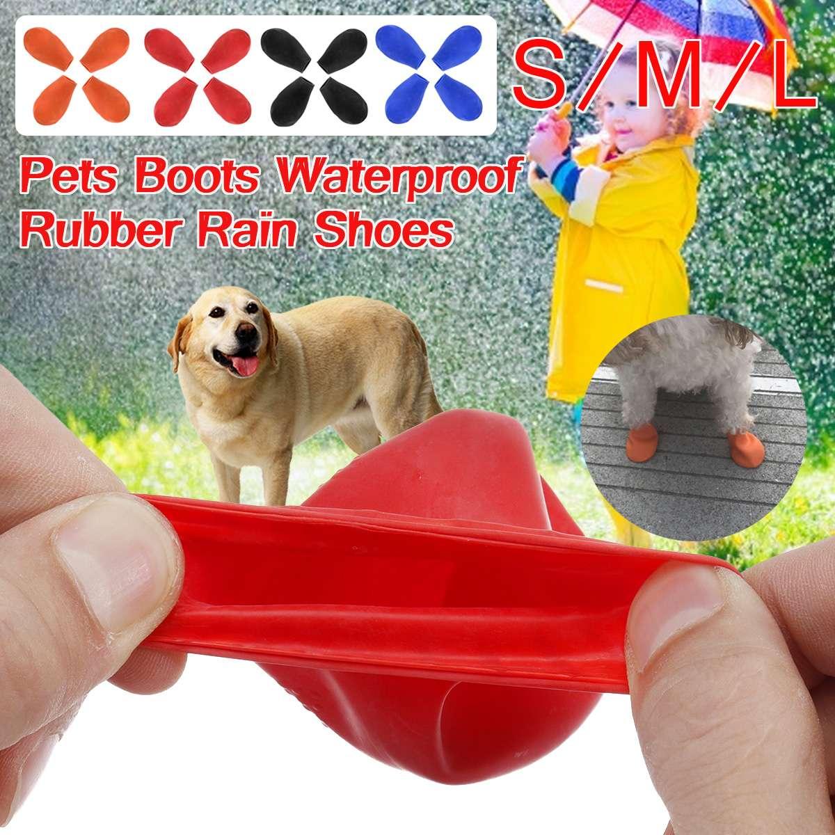 1 комплект/4 шт.; носки для домашних животных; Водонепроницаемая Резиновая обувь для дождливой собаки; нескользящая Уличная обувь для щенков; яркие цвета
