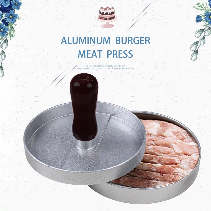 1 conjunto de forma redonda imprensa hambúrguer liga alumínio 12 cm carne hambúrguer grill hambúrguer imprensa hambúrguer fabricante ferramentas cozinha molde