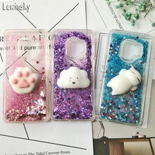 Squishy Cat Case For Samsung S9 plus S8 note 8 S6 S7 Edge J3 J7 J5 2017 A3 J2 2016 A5 2018 phone Case Glitter Liquid Clear Cover