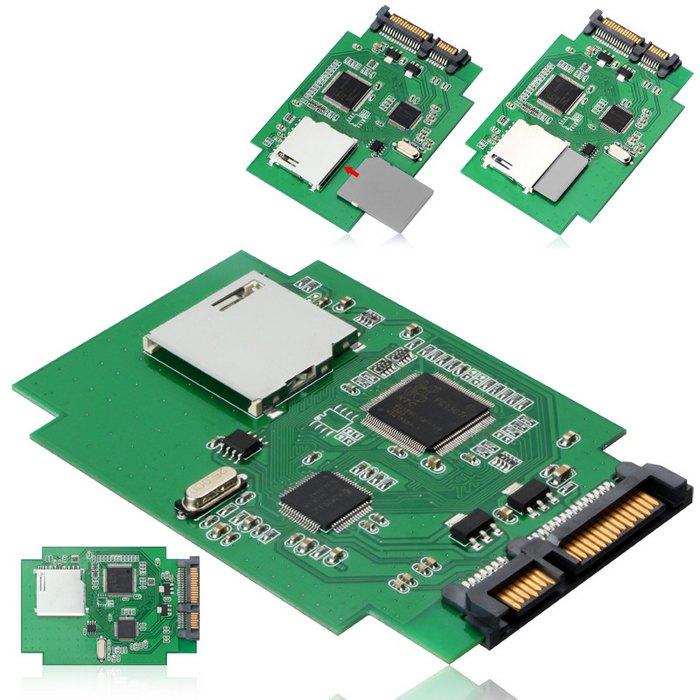 Tarjeta de memoria estándar SD SDHC MMC a 7 + 15 Pin 22pin SATA convertidor macho Kit Adaptador convertidor tarjeta adaptadora, con número de seguimiento