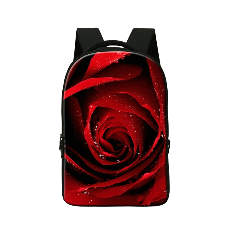 National Style Womens Laptop Backpack Red Rose Vintage Backpack Large Capacity Girls Computer Backpack Flower Student School Bag