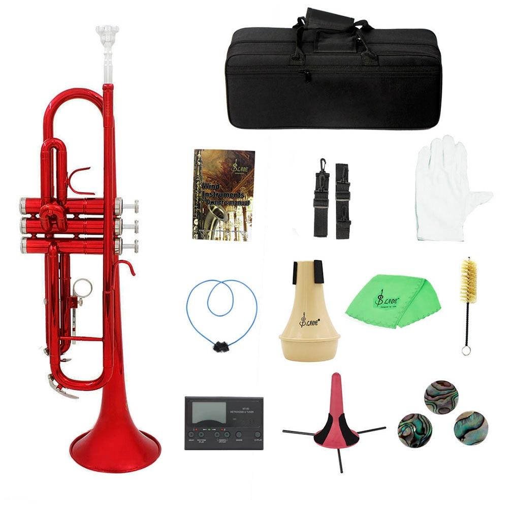 Trompeta de latón Bb B plana con boquilla bolsa de transporte sintonizador Mute trompeta soporte guantes Herramientas de limpieza 6 colores instrumento de viento