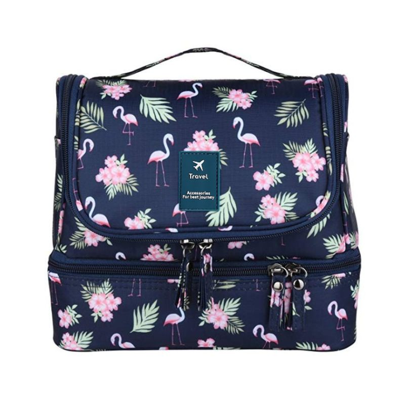 Bolsa de cosméticos LHLYSGS Flamingo, bolsa de viaje grande de doble capa, bolsa de aseo, impermeable, colgante, bolsa organizadora de maquillaje