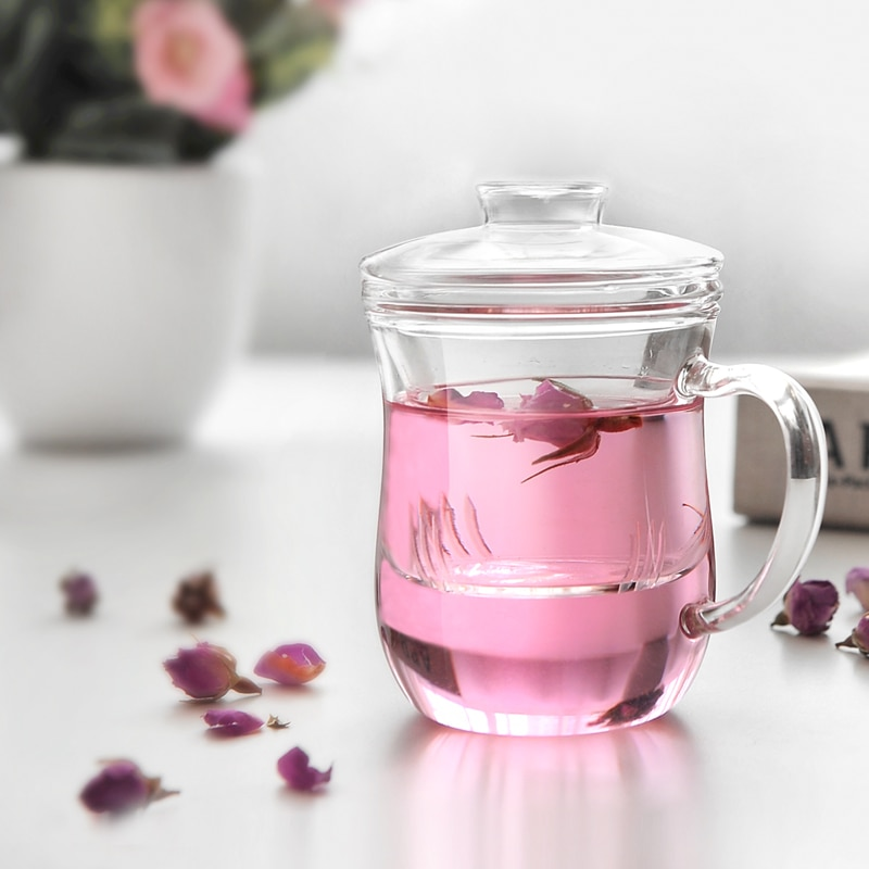 Nueva taza de té de agua de cristal resistente al calor 2019 con tapa filtro transparente delgado de tazas de té de flor para oficina