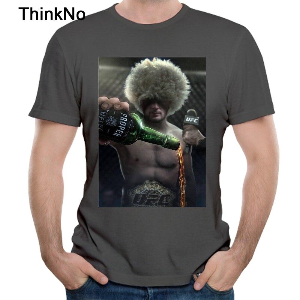 Hombre Khabib Nurmagomedov épica UFC Conor Mcgregor adecuado 12 whisky T camisa estampado gráfico Camiseta