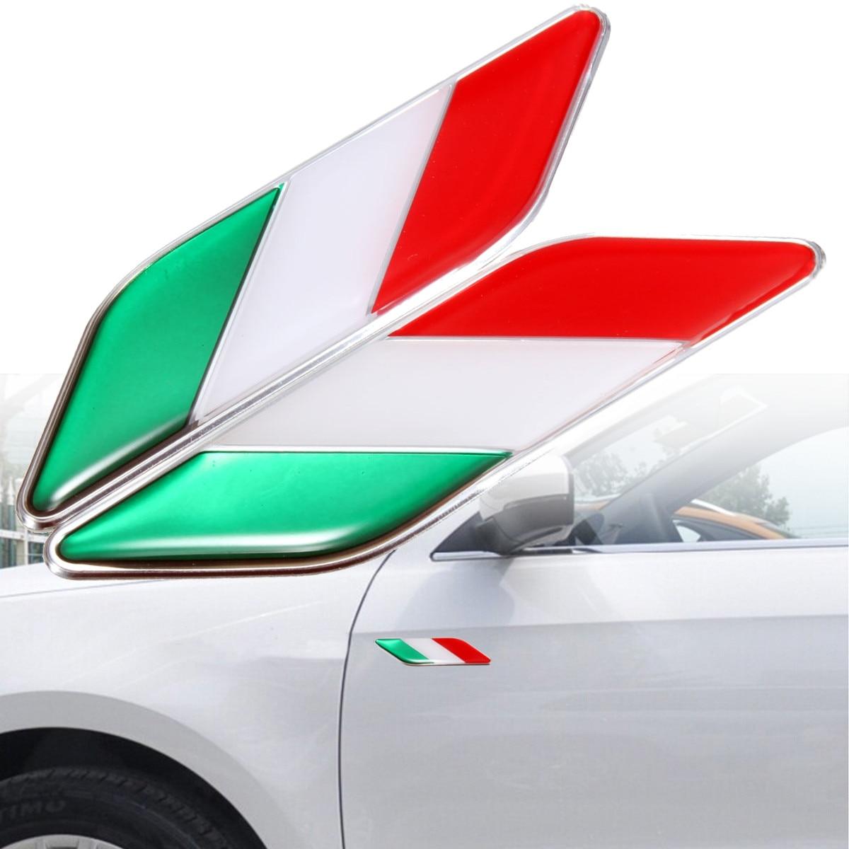 1 Pair 3D Car talian Italy Flag Stickers Badge Emblems Decal Decor For Ferrari /Fiat