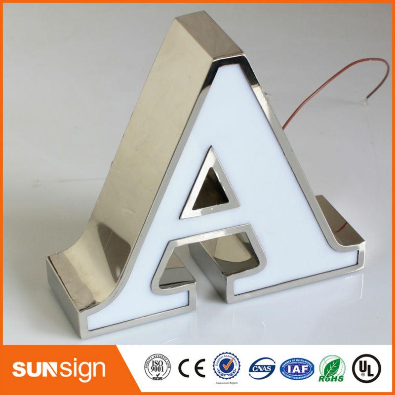 Letra de canal de acero inoxidable de anuncio bruñido de escaparate personalizado
