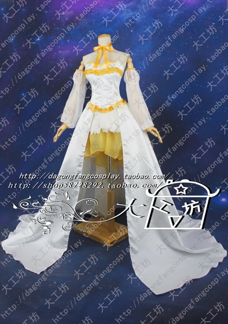 Puella Magi Madoka Magica Tomoe Mami Cosplay Costume long tail dress