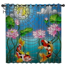 COCOHouse Ink Painting Varicolored Koi Fish Lotus Window Treatments Curtains Valance Room Curtains Large Window Curtain Lights