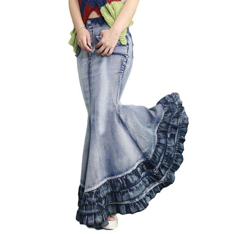 Vintage ذيل السمكة الكبيرة الدنيم تنورة المرأة الطابق طول ماكسي تنورة طويلة حورية البحر البوق الإمبراطورية عالية الخصر الجينز بسط J92793