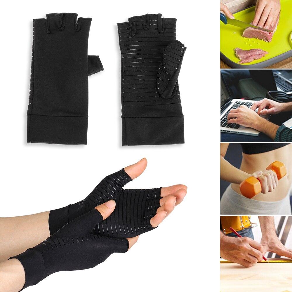 Guantes de compresión para el alivio del dolor, 1 par, con terapia de Metal, muñequera elástica, dedos abiertos, artritis de mano