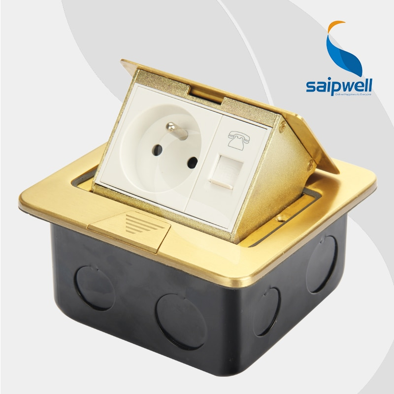 16A 220V  Slim Design Cu Floor  Socket /  Franch Style  Socket & Network  Interface Waterproof Floor Socket  (SPD-2F/CC6-9)