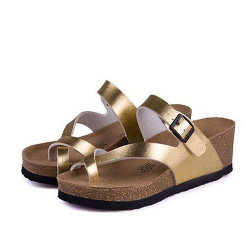 Sandalias de cuña de corcho blancas doradas y plateadas a la moda, zapatillas nuevas de 2019 para mujer, sandalias informales de playa de verano con hebilla cruzada