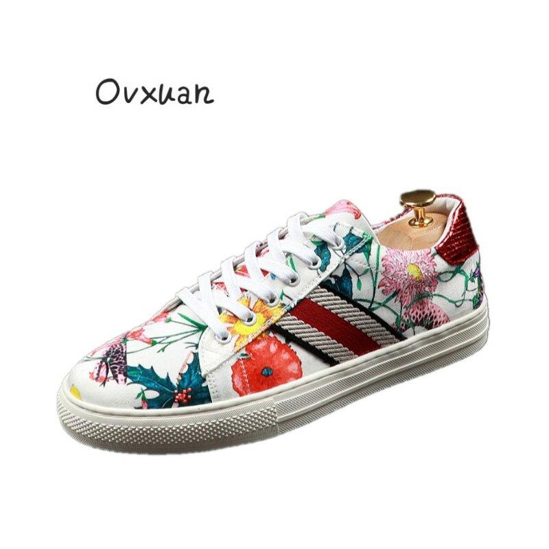 Mocasines OVXUAN informales para Hombre, con diseño de flores, costura de costura Floral, zapatos de tendencia para Hombre, calzado de Hip Hop 2020, Mocasines para Hombre