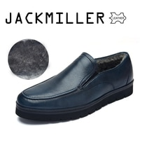 Jackmiller Top Brand Winter Shoes Cow Leather Dress Shoes For Men Wool Lining Warm Office Men Shoes