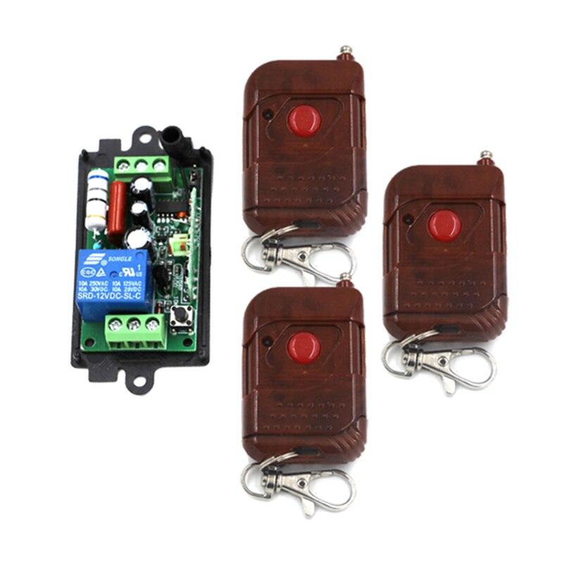 220 V 110 V Código de Aprendizagem de 1 Canais Interruptor de Controle Remoto Da Porta da Garagem porta Conduziu a luz com 3 pcs De Madeira quadro Botão do Transmissor 4179
